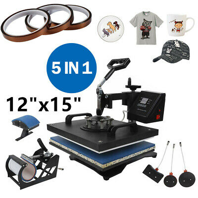 """5 in 1 Heat Press Machine For T-Shirts 12""""x15"""" Combo Kit Sublimation Swing away"""