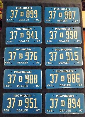 Michigan Dealer License Plates Lot of 10