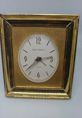 Vintage Swiza Sheffield 8 Day Mid Century Desk Alarm Clock - Swiss Made