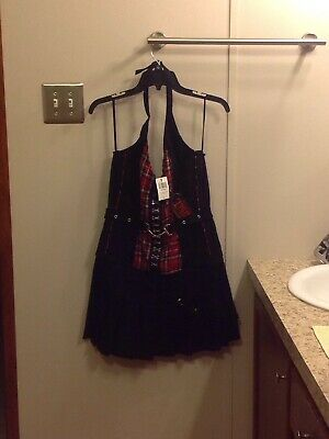 fa9d6c3047 Tripp NYC Hot Topic Red Plaid Corset Halter Dress Goth Emo Punk NWT Sz.LG