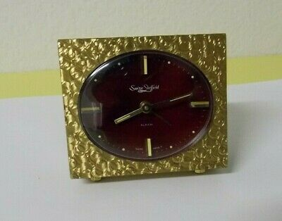 Vintage Swiza Sheffield 8 Day Desk Alarm Clock - Swiss Made