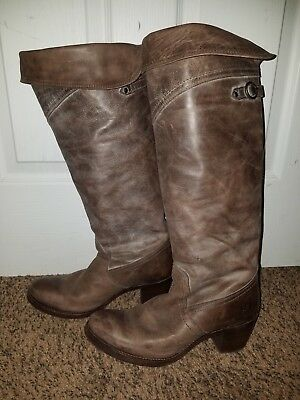 d98ab9eac828 FRYE CARRIE SCRUNCH Ankle Boots Brown Leather Wedge Back-Zip Size 9 ...
