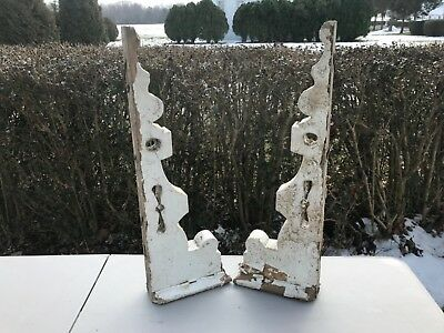 Pair of Large Antique Victorian Architectural Painted Wood Corbels
