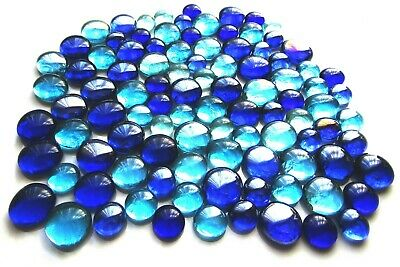 100 x Shades of Mixed Blue Art Glass Mosaic Pebbles Gem Stones - Assorted Sizes