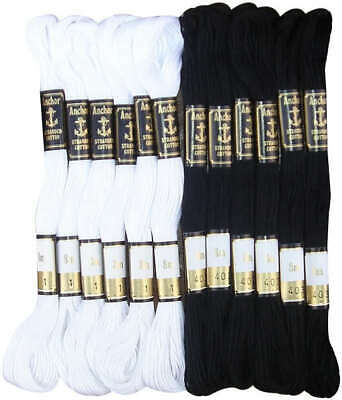 12 x New Black & White Anchor Stranded Cotton Thread Skeins, Free Fast Delivery