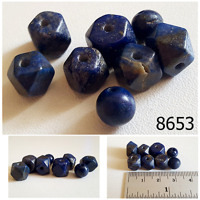 Lot 8 Ancient Style Lapis Lazuli w/Pyrite Carved Faceted Ball Bead #8653