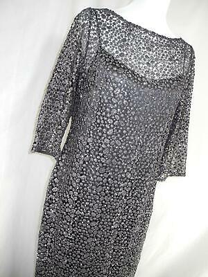 cb7349f8189 Kay Unger New York Size 14 Black Gunmetal Gray Formal Long Dress Sequins  Overlay
