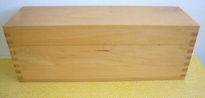 "EMPTY Dovetailed Double Divided Hinged Wood Recipe Box 3"" x 5"" Recipe Cards"