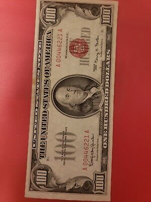 1966 $100 DOLLAR BILL UNITED STATES LEGAL TENDER RED SEAL NOTE LOW SERIALfirm