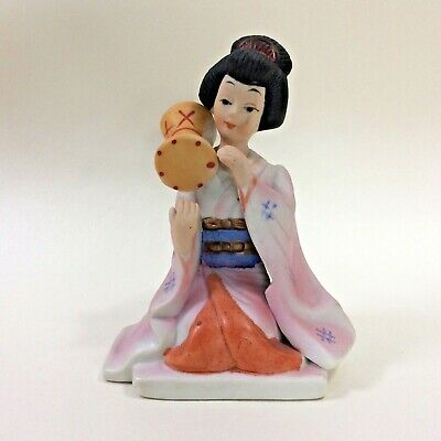 Seated Japanese Geisha Girl Woman with Drum Bisque Porcelain Hand Painted