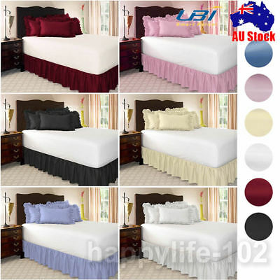 Plain Elastic Bed Ruffle Skirt Easy Fit Wrap Around Soft Single Queen King Size.
