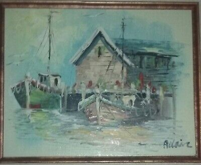 "Vintage  oil painting on canvas ""Fishing boats harbor"", signed Adair"
