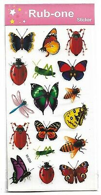 1 sheet of Kids rub-on transfers/stickers -Insects & butterflies , party favours