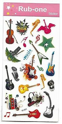 1 sheet of Kids rub-on transfers/stickers - musical instruments  , party favours