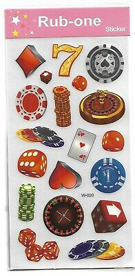 1 sheet of kids rub-on transfers/stickers - Casino games , dice , cards , etc