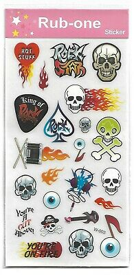 1 sheet of kids rub-on transfers/stickers - Skull, Rock Star - party favours