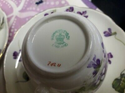 Hammersley Victorian Violets Bone China 2 Cups Saucers