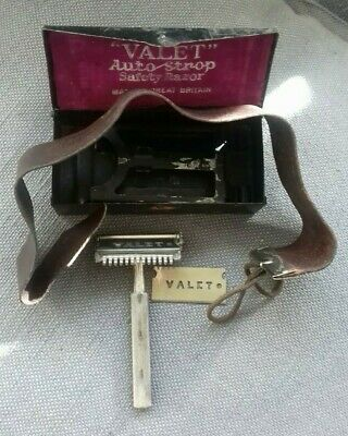 Valet Auto Strop Razor RED case Great Britain w/ Blade & Leather Strap Vintage