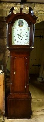 An antique Georgian Oak & Mahogany Grandfather Longcase Tallcase Clock C1800