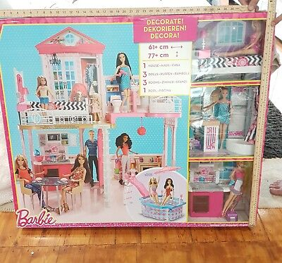 Barbie Dolls Play Set 3 rooms, 3 dolls House with swimming pool. COLLECT KT23