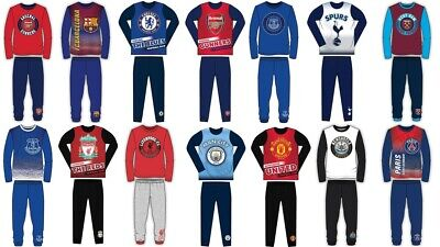 Boys Kids Football Club Pyjamas Nightwear Arsenal Chelsea PJs Long Sleeve LFC