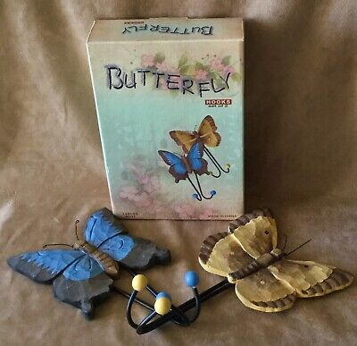 New In Box Vintage Set Of 2 Decorative Wood Carved Butterfly Wall Hooks