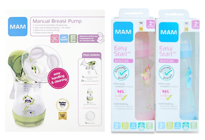 Mam Manual Breast Pump + 2x 2+ Months Easy Start Bottles Anti Colic 260ml/9oz