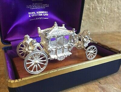Toye Kenning Spencer Miniature Solid Silver Coronation Coach In Original Box