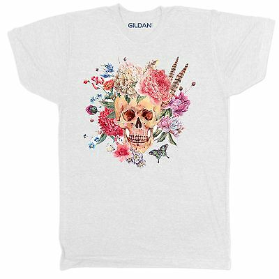 Floral Skull Skeleton Tumblr Urban Retro Vintage Festival Mens 2Xl 3 T Shirt