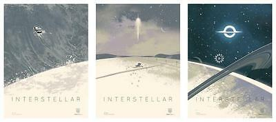 "SET of 3 INTERSTELLAR - 12""x16"" Original Promo Movie Poster 2014 AMC IMAX MINT"