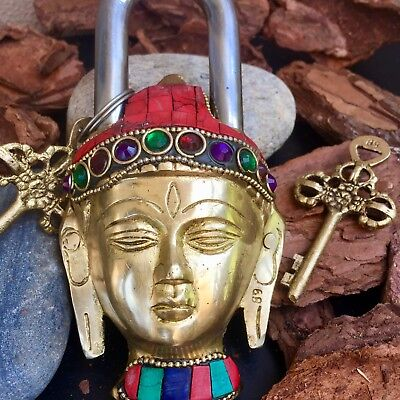 Buddha Antique lock Vintage Brass Padlock working lock skeleton key love lock