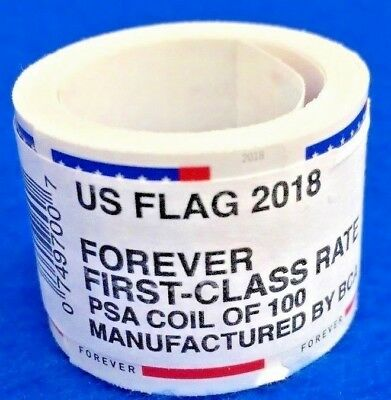 One Roll Of 100 Forever 2018 U.S. Flag Coil Stamps FV