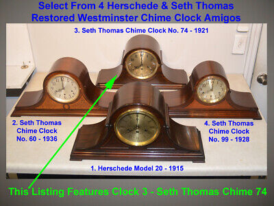 Fully Restored Seth Thomas Ribbon Mahogany Antique Chime Clock No. 74-1921