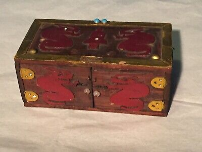 Early 1900's Handmade Asian Decorated Wood Box With A Rear Secret Compartment