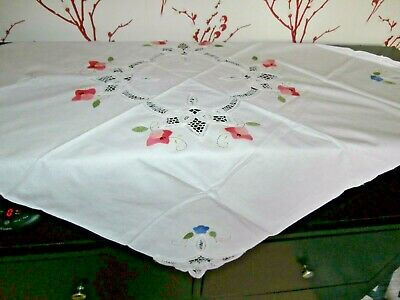 Vintage Style White Cotton Small Tablecloth~Embroidery And Tape/string Lace