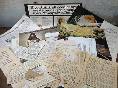 Lot Of 70+ Recipe Clippings Vintage Magazines Newspapers Company Advertising