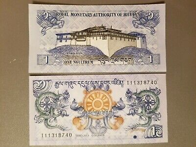 Bhutan 1 Ngultrum, 2013 Uncirculated, Foreign paper currency
