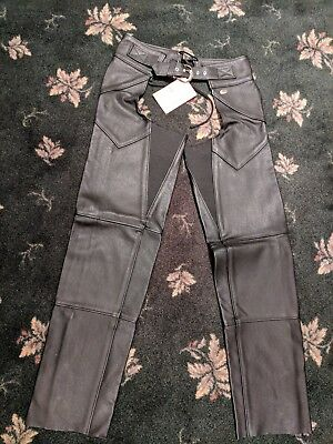 Women's Medium Harley Davidson Black Leather Chaps NWT New with Tags Never Worn!