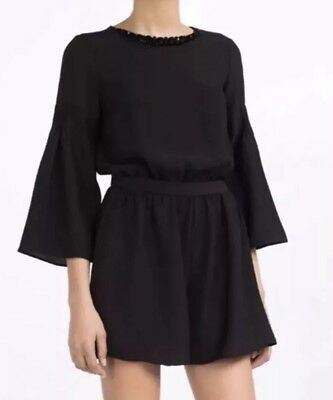 7a9a7b3d74b Zara Black Stone Necklace Bell Sleeve Jumpsuit Size M UK 12 BNWT Sold Out
