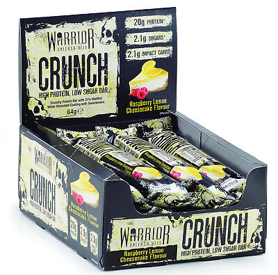 Warrior Crunch 12 x 64g High Protein Bars Low Carb Low Sugar BBE 11/2019