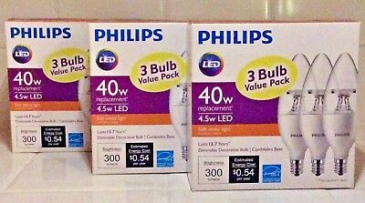 """PHILIPS"" 40w WHITE 3 LED 3~PACK DIMMABLE DECORE REPLACE LIGHT BULBS NIB SEALED"