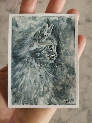 ACEO Original Grey Tabby Cat Kitten Portrait Watercolor Painting Art Mel Gordon