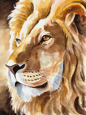 """Löwe"", Katze, Cat, Afrika, Wildlife, Original Aquarell 24x32, Studio-Milamas"