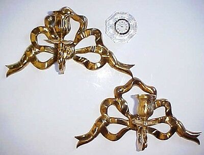 Gorgeous Hollywood Regency Old French Candle Holders Sconces Pair Of Bows Brass