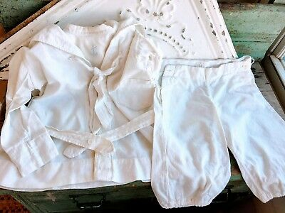 Edwardian White Boys Sailor Suit Shirt Bib Shorts Linen cotton