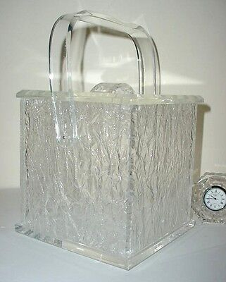 "Sculpted ""Ice"" Ice Bucket Jere Era Thick Lucite Piece Hollywood Regency"
