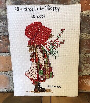 Vintage Cross Stitch Red Holly Hobby Time to be Happy is NOW Completed 9x12""