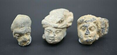 Group of 3 ancient Gandharan stone head fragments 2nd - 1st mil BC
