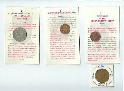 4 Confederate Restrike Coins $5, $20, 1 and 50 Cent pieces
