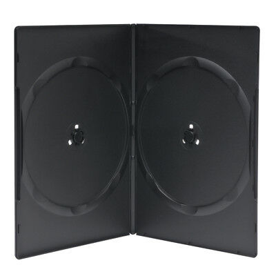 100 Premium 7MM Slim Black Double DVD Cases with Clear Overlay Holds 2 Disc